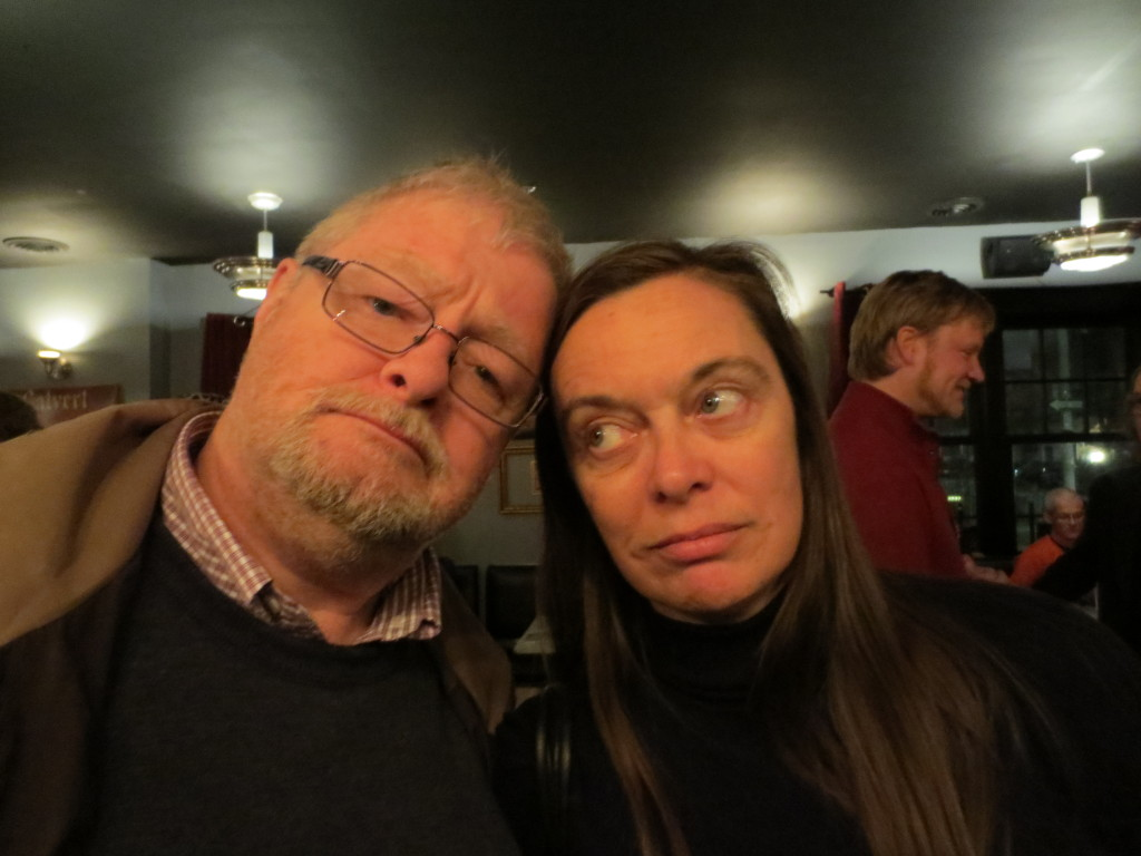 Jim Smith and translator Anne McLean at the spring 2013 Mansfield Press launch party
